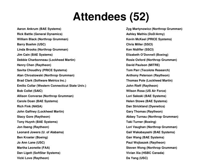 Attendees 52