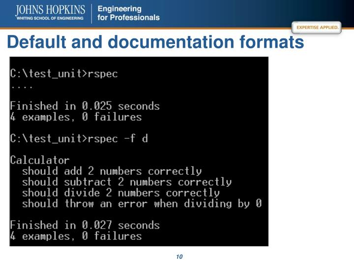 Default and documentation formats