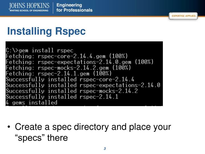 Installing rspec