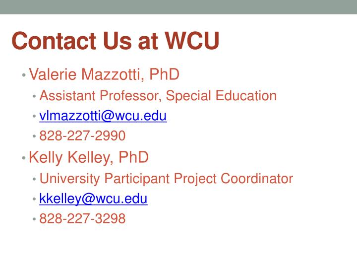 Contact Us at WCU