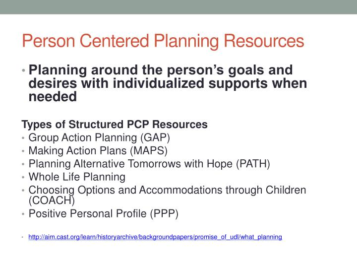 Person Centered Planning Resources
