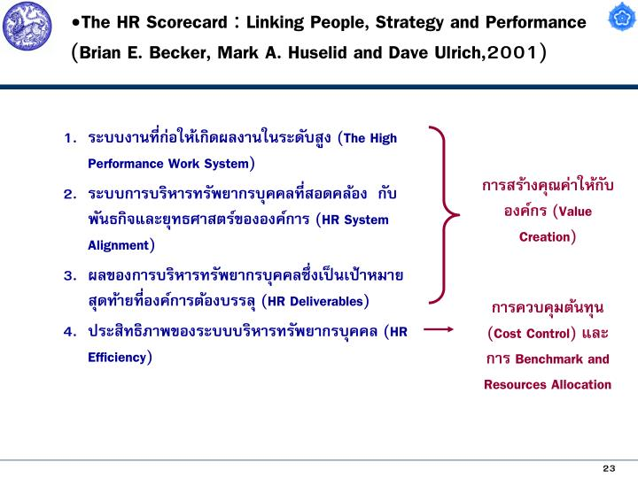 The HR Scorecard : Linking People, Strategy and Performance (Brian E. Becker, Mark A. Huselid and Dave Ulrich,2001)