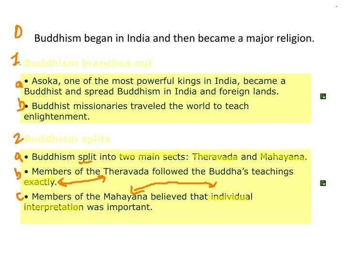 Buddhism began in India and then became a major religion.