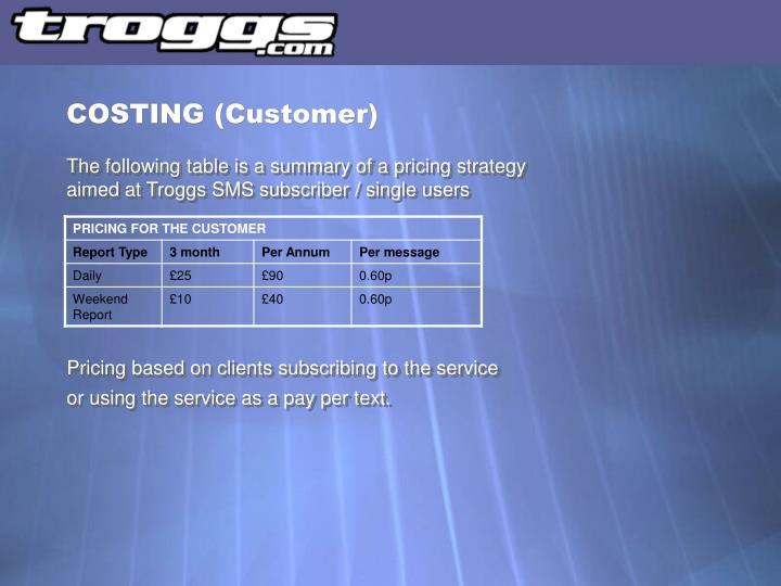 COSTING (Customer)