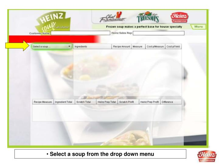 Select a soup from the drop down menu