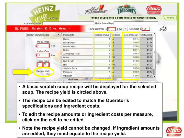 A basic scratch soup recipe will be displayed for the selected soup. The recipe yield is circled above.
