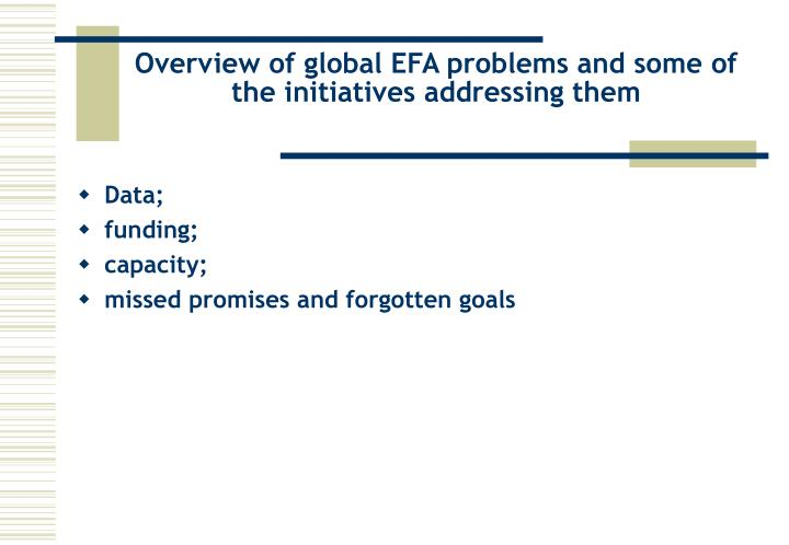 Overview of global EFA problems and some of the initiatives addressing them