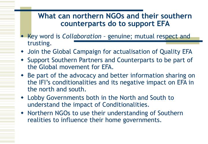 What can northern NGOs and their southern counterparts do to support EFA