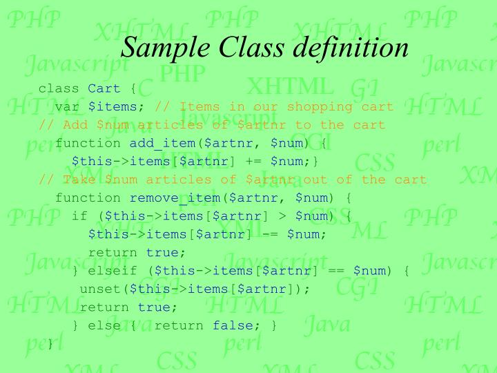 Sample Class definition