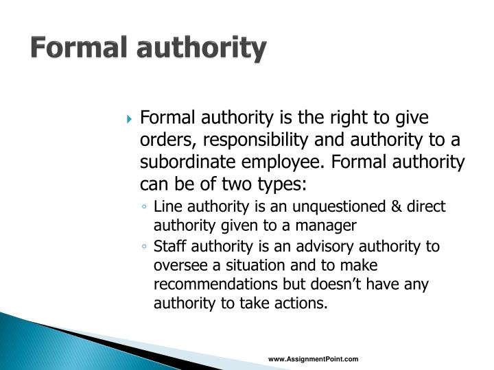 Formal authority