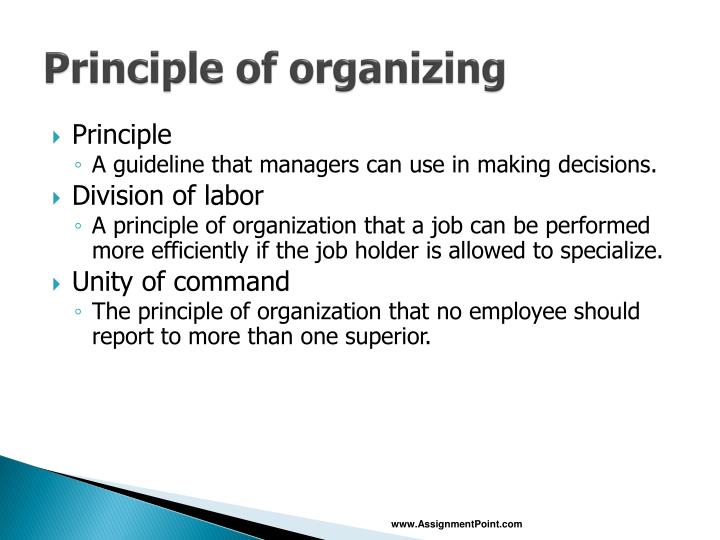 Principle of organizing