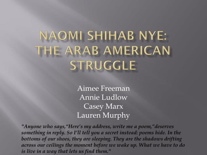 Naomi shihab nye the arab american struggle