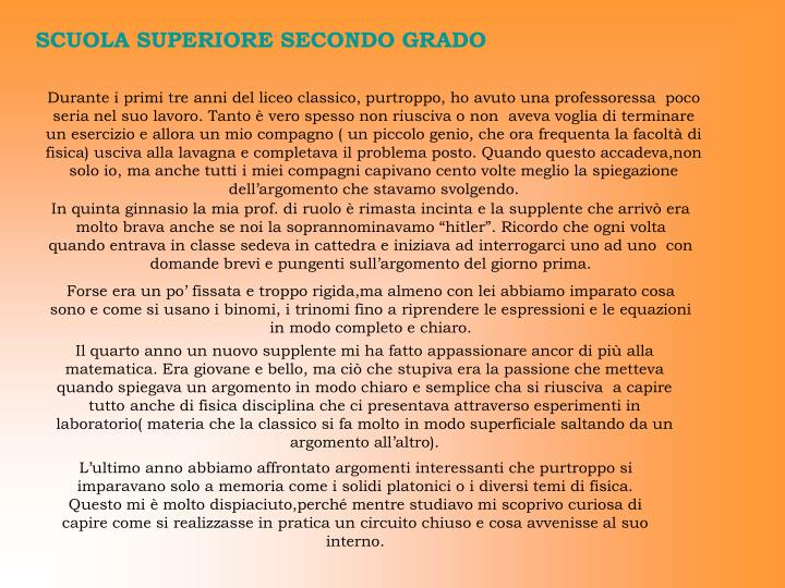 SCUOLA SUPERIORE SECONDO GRADO