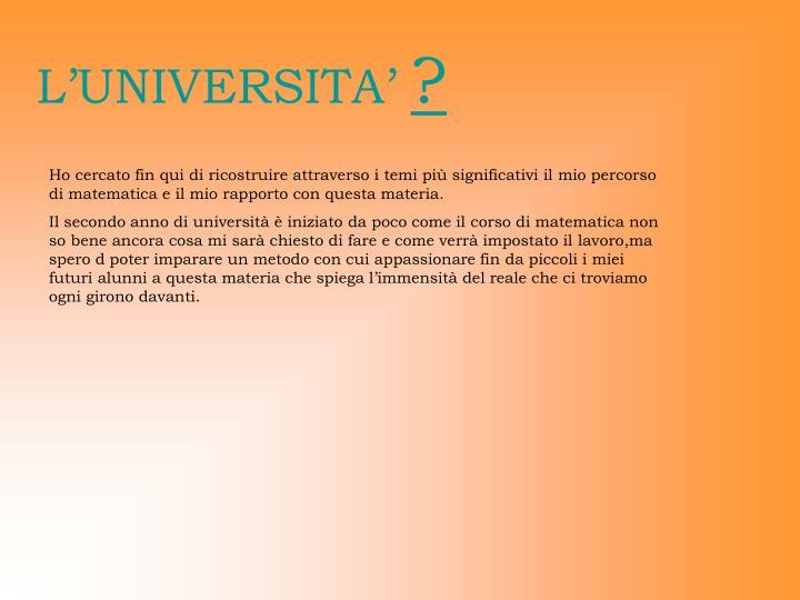L'UNIVERSITA'