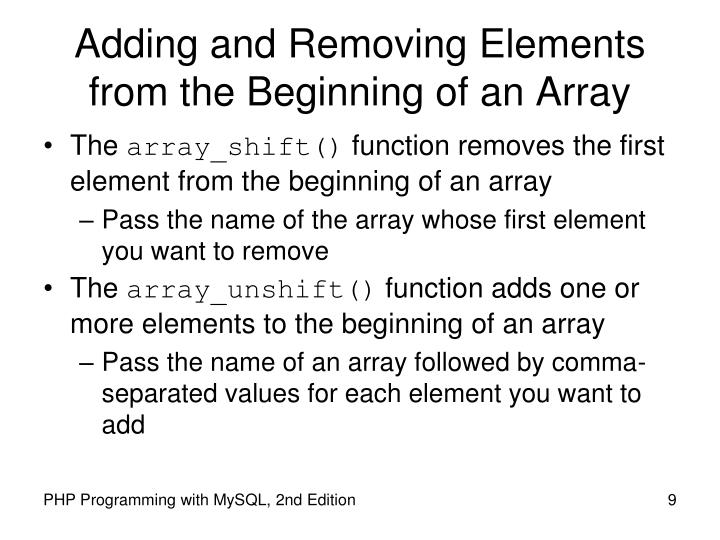 Adding and Removing Elements from the Beginning of an Array