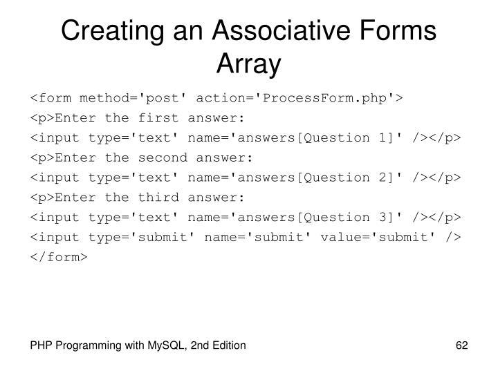 Creating an Associative Forms Array