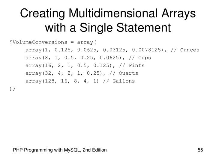Creating Multidimensional Arrays with a Single Statement