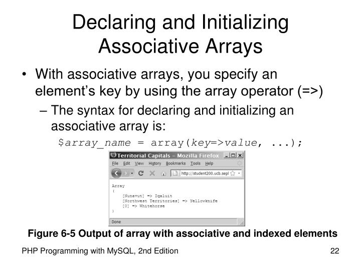 Declaring and Initializing Associative Arrays