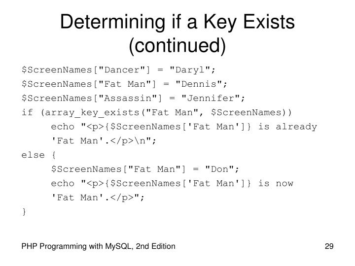 Determining if a Key Exists (continued)