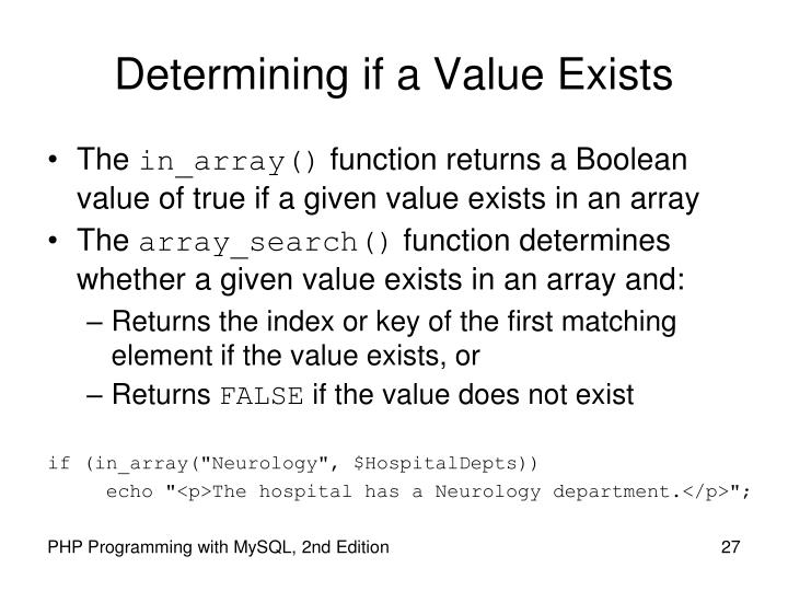 Determining if a Value Exists