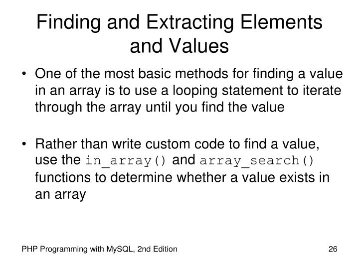Finding and Extracting Elements and Values