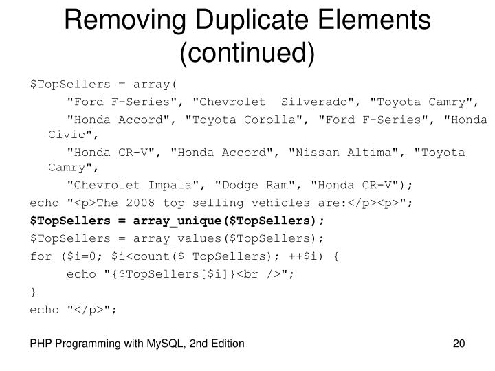 Removing Duplicate Elements (continued)