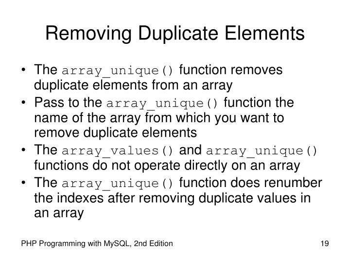 Removing Duplicate Elements