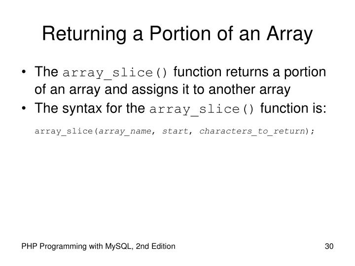 Returning a Portion of an Array