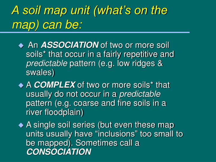 A soil map unit (what's on the map) can be: