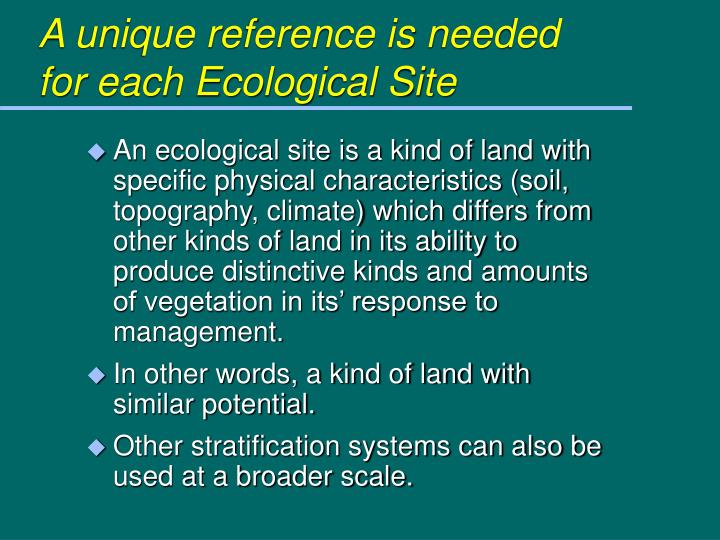 A unique reference is needed for each Ecological Site
