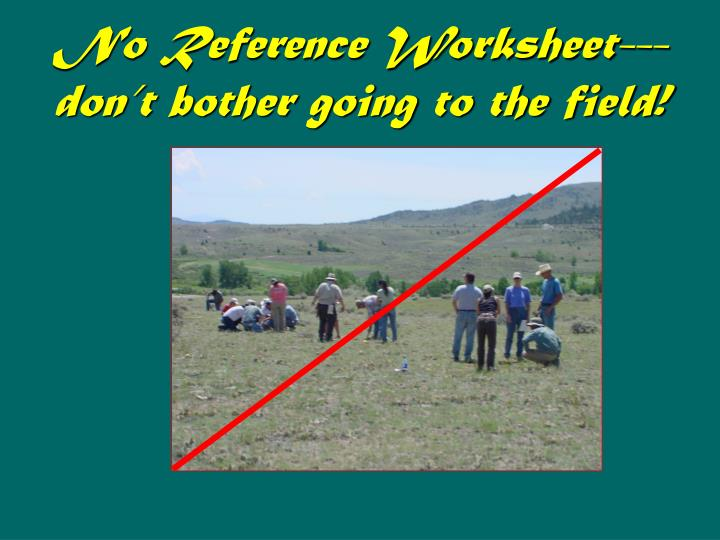 No Reference Worksheet---don't bother going to the field!