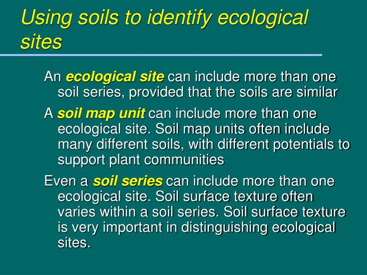 Using soils to identify ecological sites