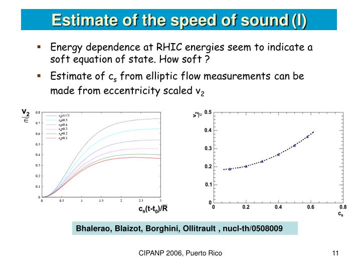 Estimate of the speed of sound