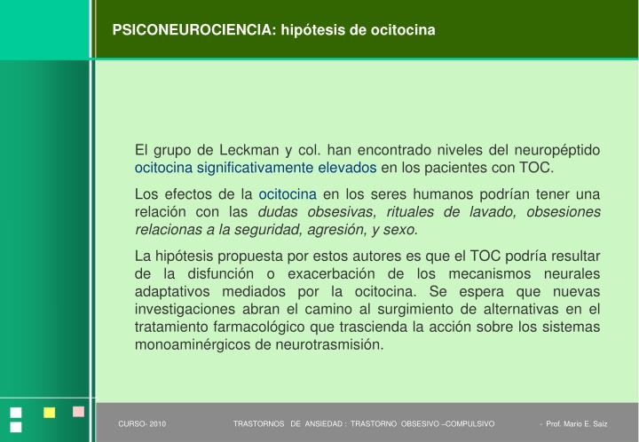PSICONEUROCIENCIA: hipótesis de ocitocina