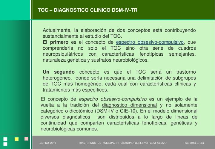 TOC – DIAGNOSTICO CLINICO DSM-IV-TR