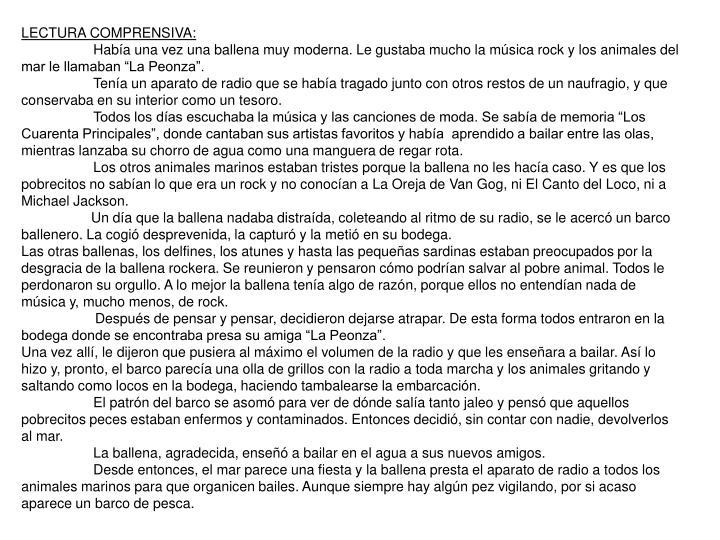 LECTURA COMPRENSIVA: