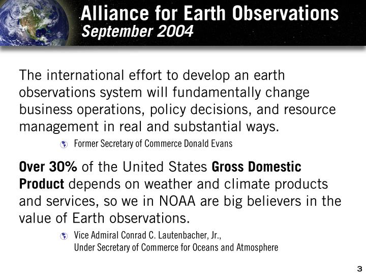 Alliance for earth observations september 2004