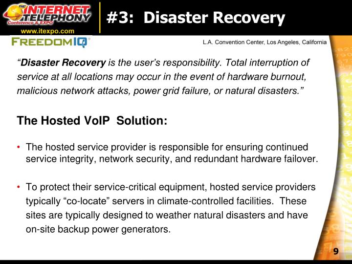 #3:  Disaster Recovery
