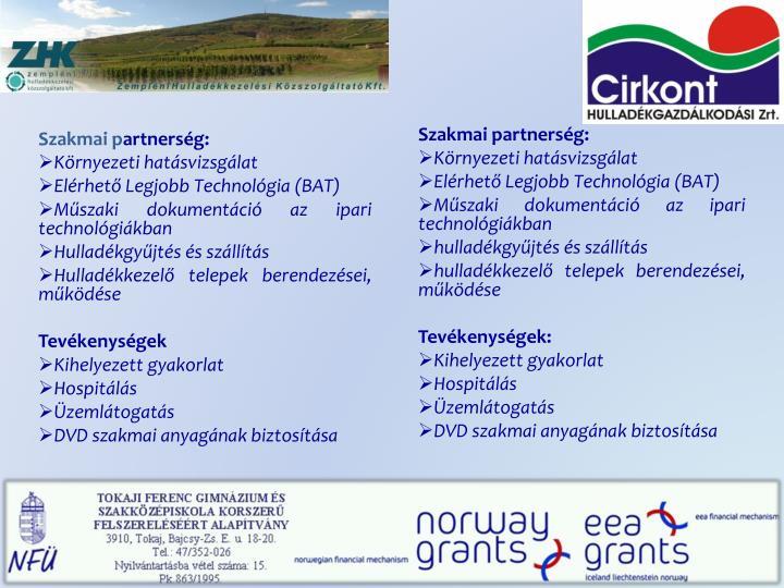 Szakmai partnerség: