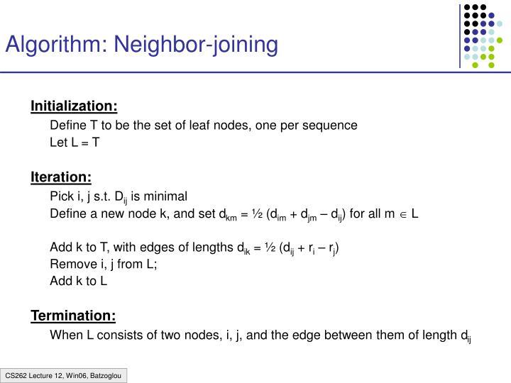 Algorithm: Neighbor-joining