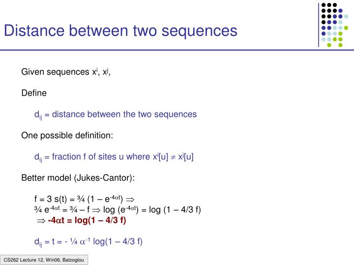 Distance between two sequences