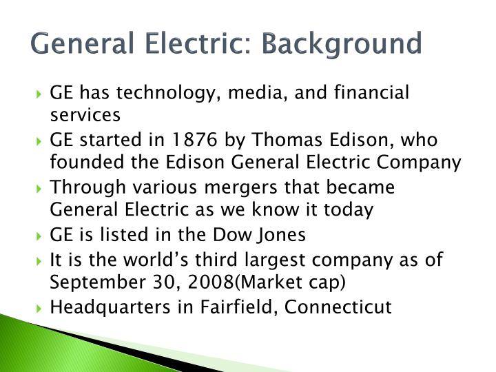 General Electric: Background