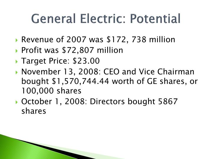 General Electric: Potential