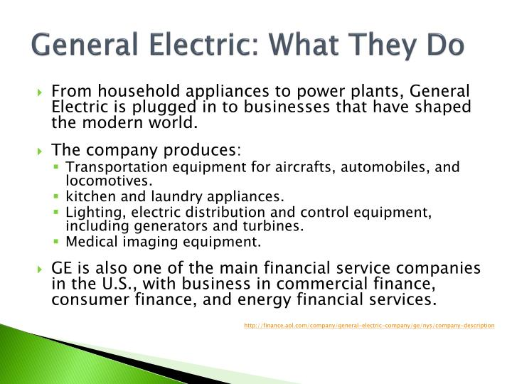General Electric: What They Do