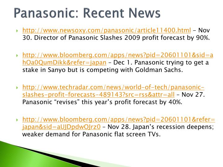 Panasonic: Recent News