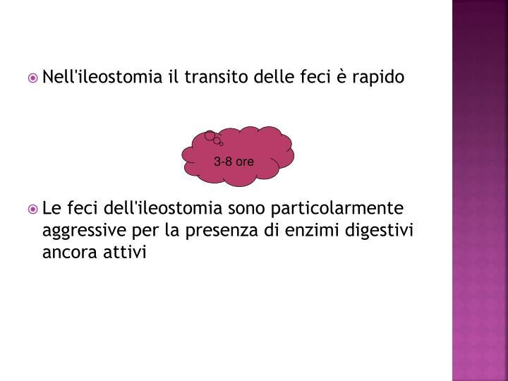 Nell'ileostomia il transito delle feci è rapido