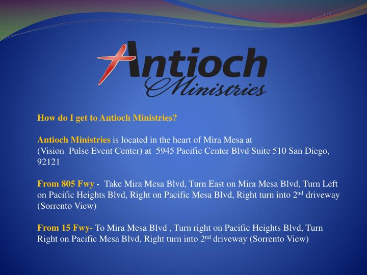 How do I get to Antioch Ministries?