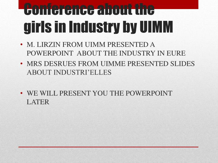 M. LIRZIN FROM UIMM PRESENTED A POWERPOINT  ABOUT THE INDUSTRY IN EURE