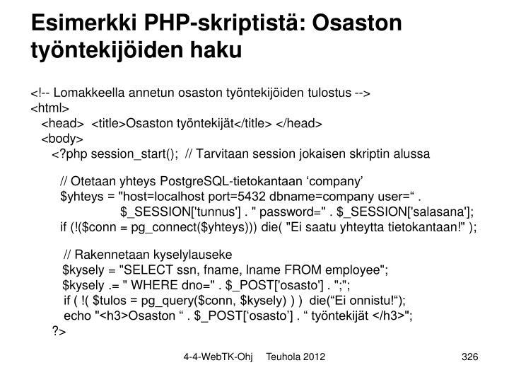 Esimerkki PHP-skriptistä: Osaston työntekijöiden haku