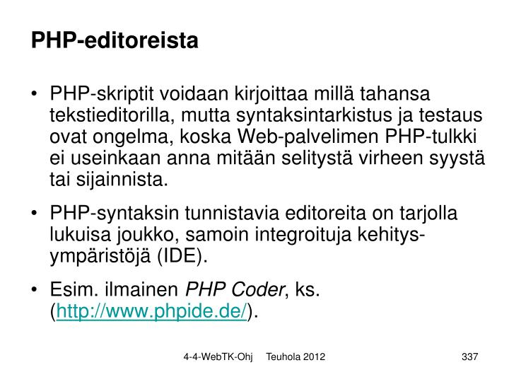 PHP-editoreista